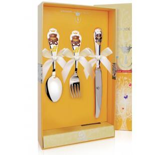 Набор с эмалью детских  столовых приборов Мишка с ножом  фото