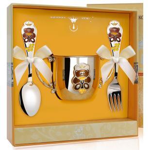 Детский набор посуды Медведь с эмалью (поильник, ложка, вилка) фото