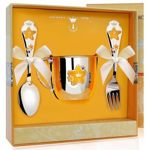 Детский набор посуды Звезда с эмалью (кружка, ложка, вилка) фото