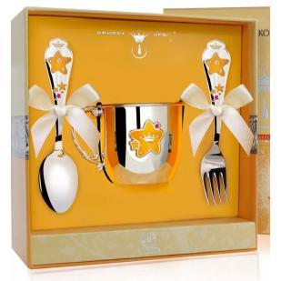 Набор детской посуды Звезда с эмалью (кружка, ложка, вилка) фото
