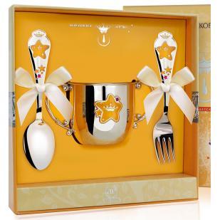 Детский набор посуды Звезда с эмалью (поильник, ложка, вилка) фото