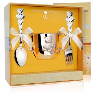 Набор детской посуды Мишутка (поильник, ложка, вилка) фото