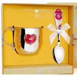 Детский серебряный набор Сердечко с кружкой и ложкой