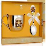 Детский серебряный набор Мишка с эмалью кружка с ложкой
