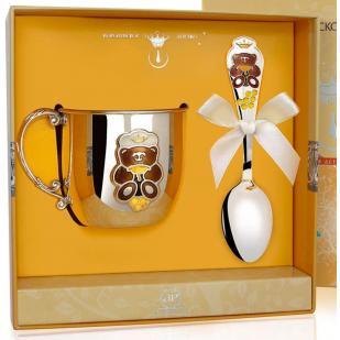 Детский серебряный набор Мишка с эмалью кружка с ложкой фото