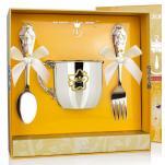 Набор детской посуды Звезда с позолотой (кружка, ложка, вилка)