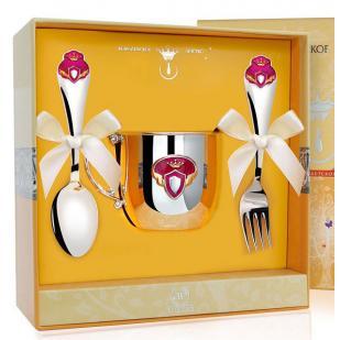Набор детской посуды Принцесса с эмалью (кружка, ложка, вилка) фото