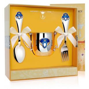 Набор детской посуды Принц с эмалью (поильник, ложка, вилка) фото
