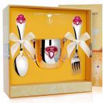 Набор детской посуды Принцесса с эмалью (поильник, ложка, вилка)
