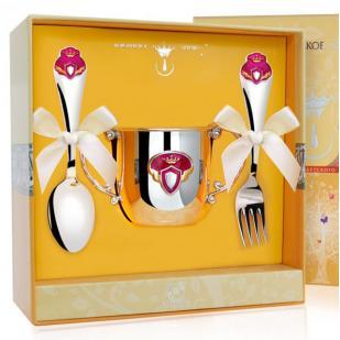 Набор детской посуды Принцесса с эмалью (поильник, ложка, вилка) фото