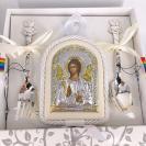 Набор подарочный с иконой Ангел Хранителя и серебряными приборами Медведь