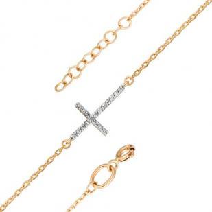 Золотой браслет с крестиком