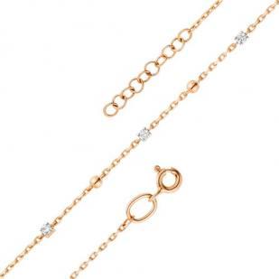Тонкий браслет с тремя бриллиантами 53192-100 фото