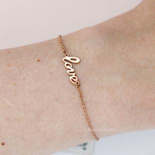 Золотой браслет Love фото