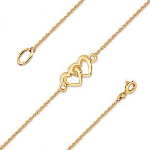 Золотой браслет два сердца  фото