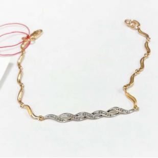 Золотой браслет Косичка с бриллиантами 5129-100 фото