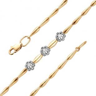 Золотой браслет с тремя розочками и бриллиантами 5107-100 фото