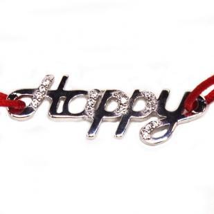 Браслет красная нить HAPPY  фото