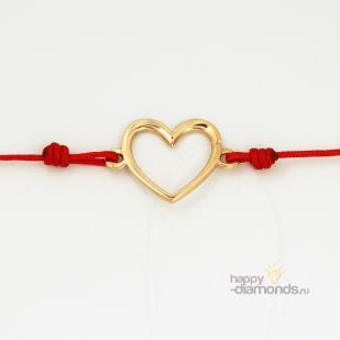 Браслет красная нить с золотым сердцом фото