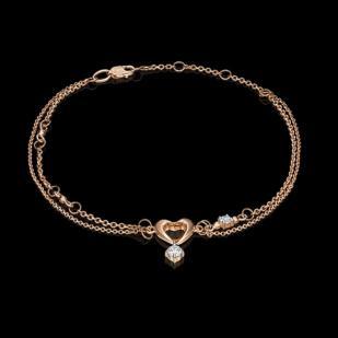 Двойной золотой браслет мое сердечко фото