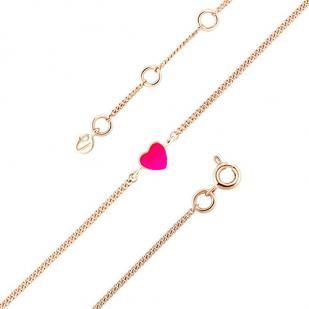 Детский золотой браслет сердечко розовое фото