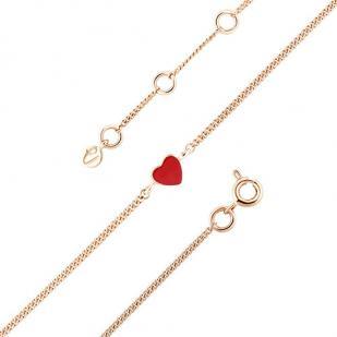 Детский золотой браслет сердечко красное фото