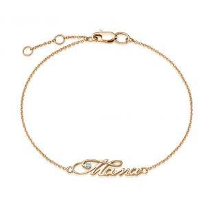 Золотой браслет Мама с бриллиантом фото