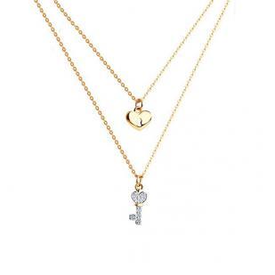 Двойная цепочка из золота Ключ-замок арт. 070240