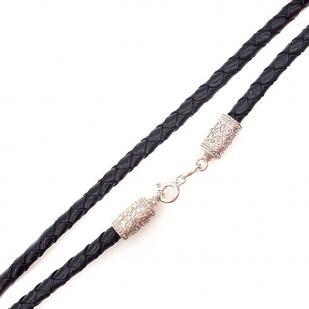 Плетеный кожаный шнурок на серебряном замке фото