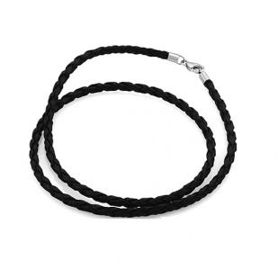 Кожаный шнурок на серебряном замке фото
