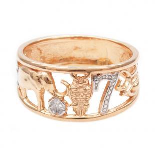 Кольцо счастье из золоченого серебра фото