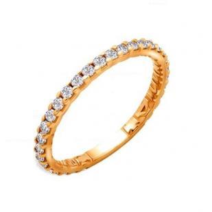 Золотое кольцо Спаси и Сохрани с фианитовой дорожкой 61517А