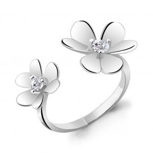 Кольцо с Клеверами серебряное фото