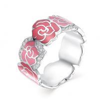 Кольцо с розочками серебро эмаль