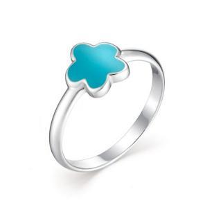 Детское кольцо цветочек с голубой эмалью