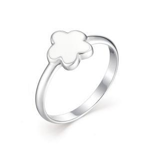 Детское кольцо цветочек с белой эмалью