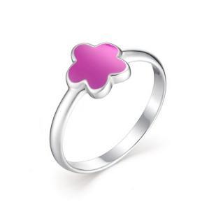 Детское кольцо цветочек с розовой эмалью
