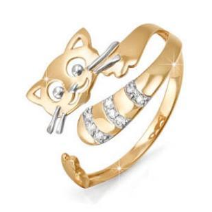 Золотое разъемное кольцо Котенок