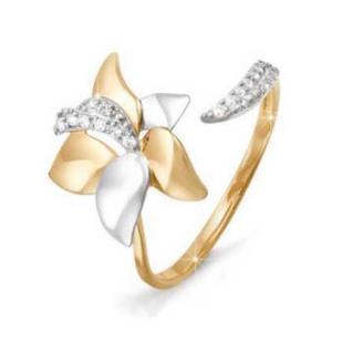 Золотое разъемное кольцо Лилия