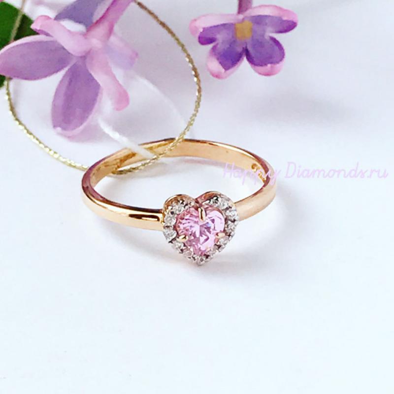 Детское золотое кольцо Сердце с розовым камнем b8cd1dbb096
