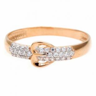 Золотое кольцо в форме пряжки фото