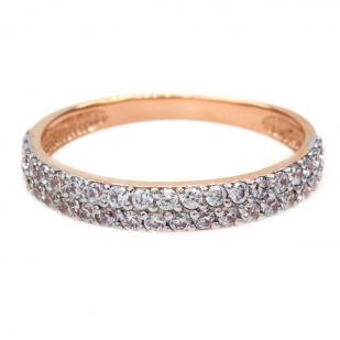 Золотое кольцо две дорожки фианитов