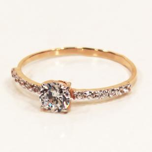 Золотое кольцо Загадка с фианитами