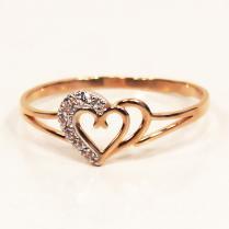 Золотое кольцо два сердца