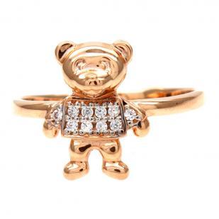 Золотое кольцо с мишкой