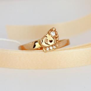 Золотое кольцо ножка малыша с фианитами фото