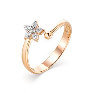 Детское золотое кольцо Цветочек фото