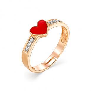 Детское золотое кольцо Сердечко с эмалью фото