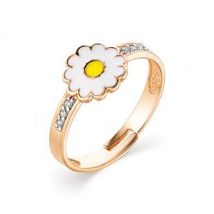 Детское золотое кольцо Ромашка фото