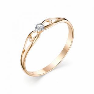 Золотое колечко с 1 бриллиантом 11353-100 фото